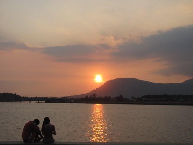 Enjoying the sunset along the river.