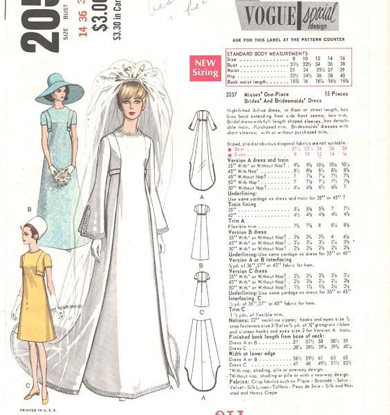 Vintage Vogue A Line Bridal Gown Pattern 2057 Bust 36