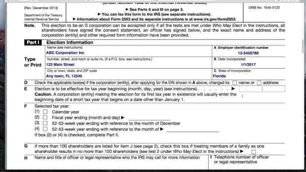 How to Fill in Form 2553 Election by a Small Business Corporation S Election