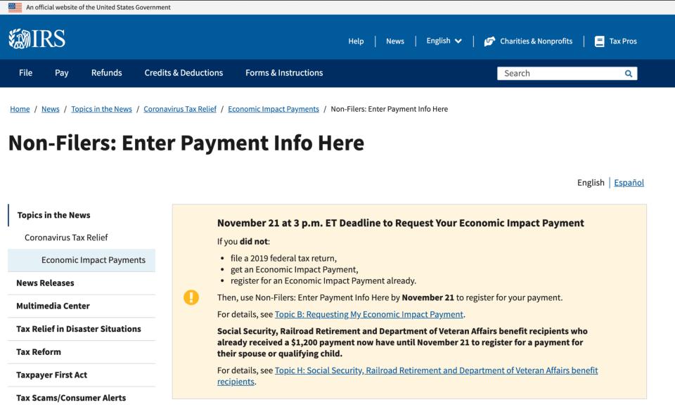 IRS Non Filer Tool