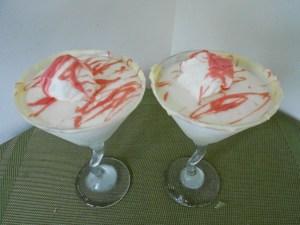 snow cream martini with white chocolate rimmer