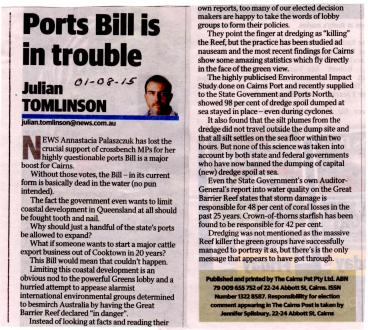 Cairns Post Editorial 010815