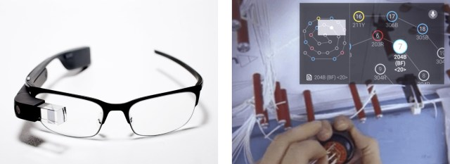 Fig. 3 Boeing experiments with Google Glass for aircraft wire harness (Photos: Google and Boeing)