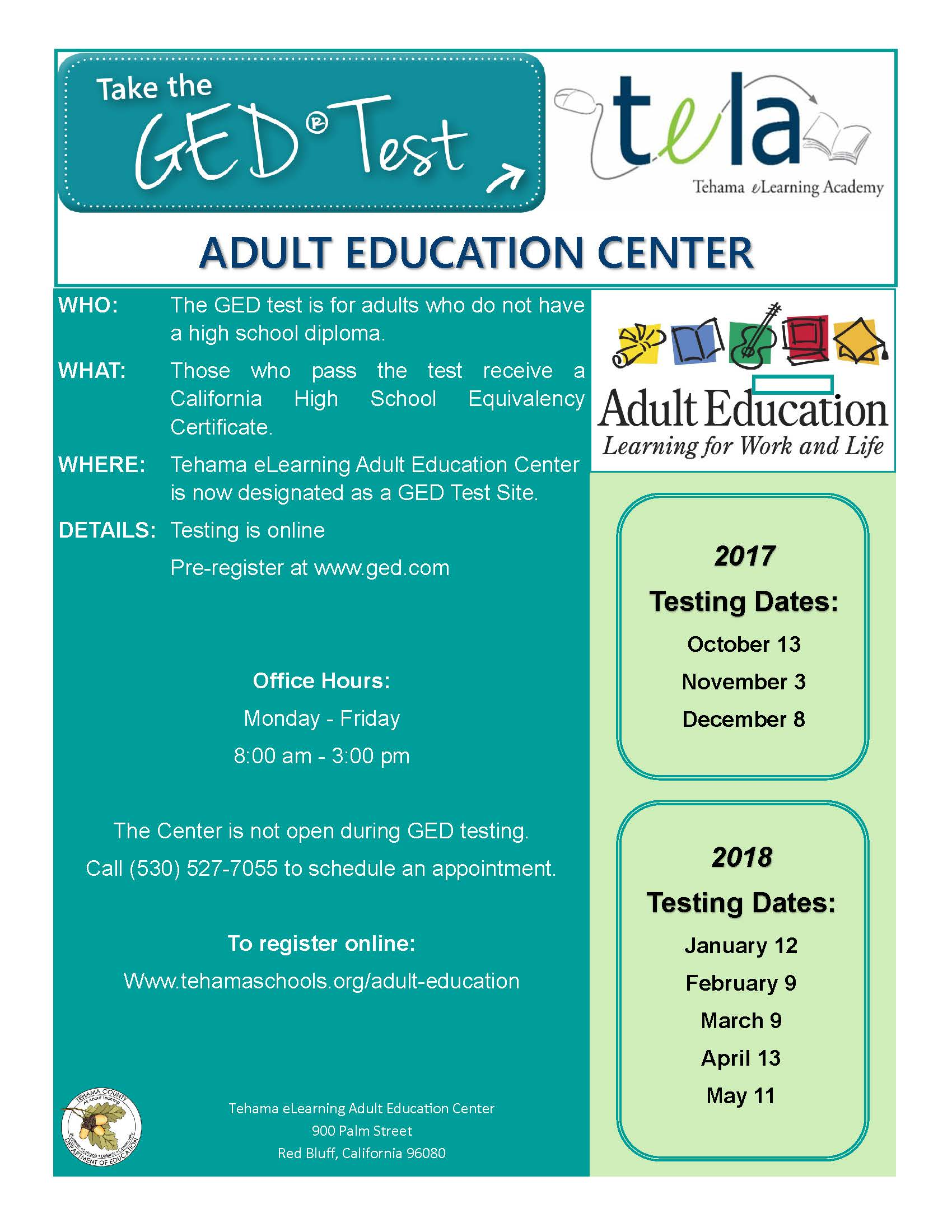 Tela Ged Test Flyer Not Funded By Aebg 17 18