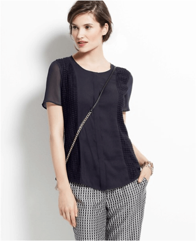 Ann Taylor navy blouse & navy checked pants  $89/$98