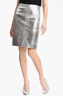 Metallic leather pencil skirt by Milly.com