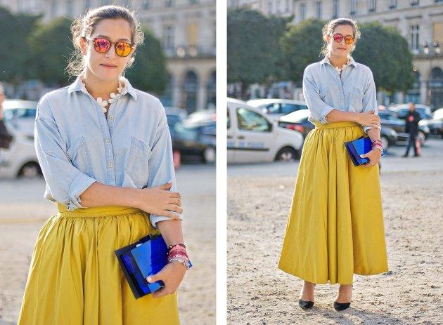 Full skirt and Chambray shirt spotted at Paris Fashion Week.
