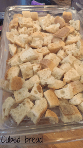savory bread cubed