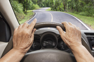 elderly person driving