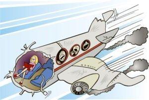 calm girl and plane crash