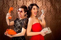Pin-Up girls screaming at vintage phone