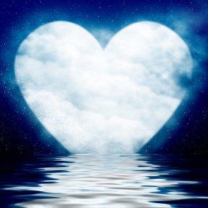heart moon over water