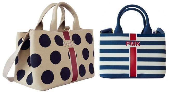 Upbeat summer look with these stripes and Polkadot handbags from Pmikaki Spring Summer Collection 2016