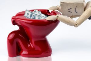 money down the toilet, plumber