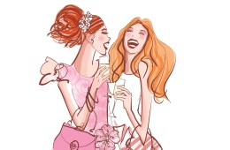 Two girls in a cocktail party laughing - vector illustration