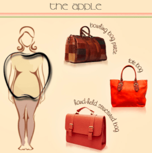apple body shape and purse