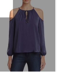 Aqua open shoulder blouse from Bloomingdales