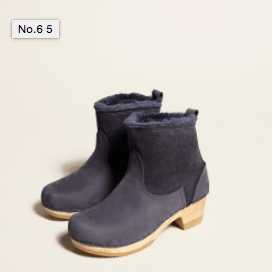 "No.6 5"" Pull on Shearling Boot on Mid Heel in Navy Suede"