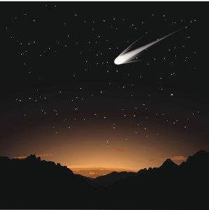 Digital illustration of a comet in the sky