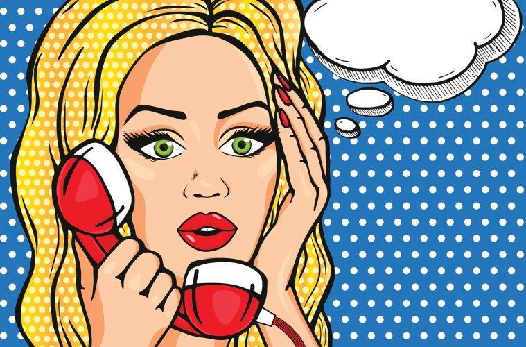 retro woman on rotary phone