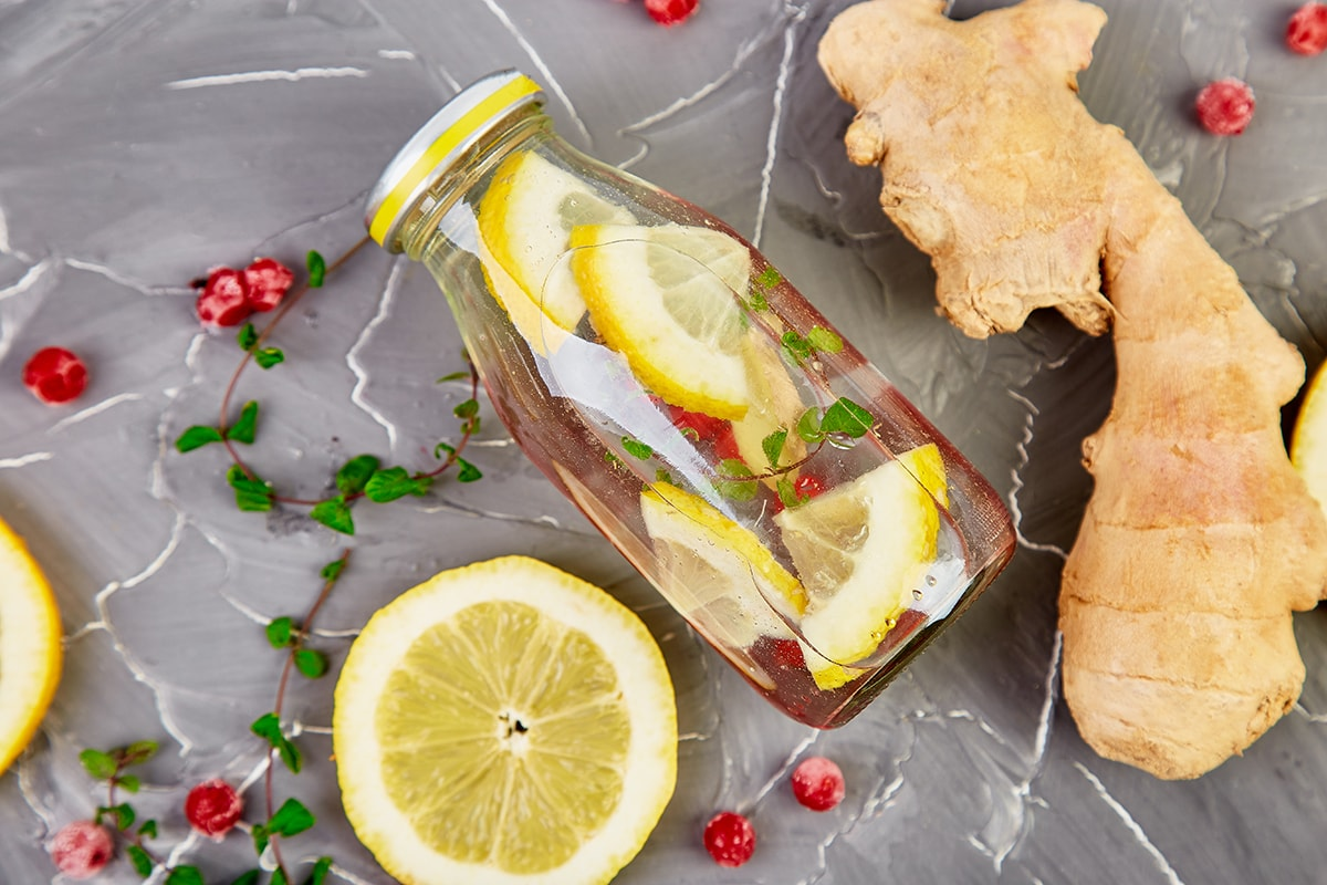 Ginger water with lemon and berries
