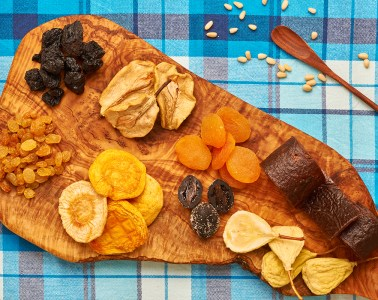 Dried fruits on tablecloth