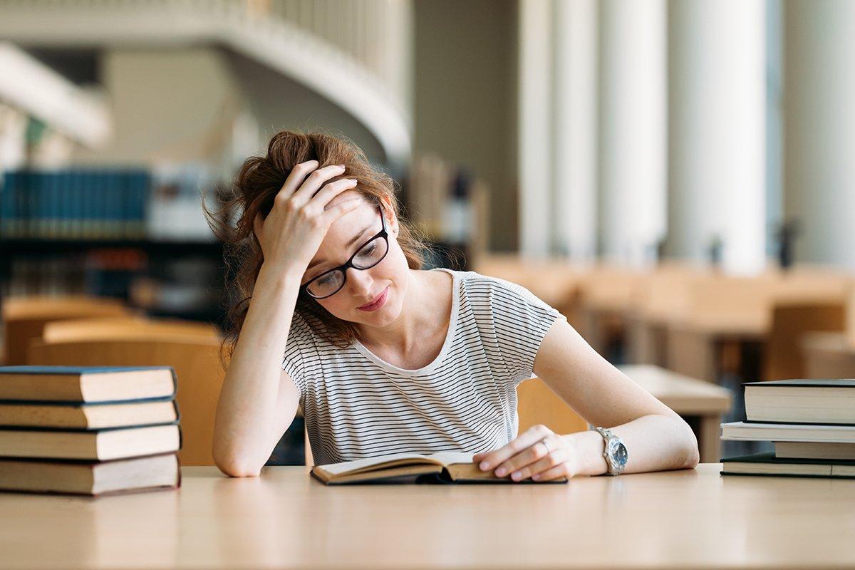 Girl studying hard