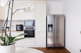 Modern appliances and new design in kitchen. Loft kitchen and ap