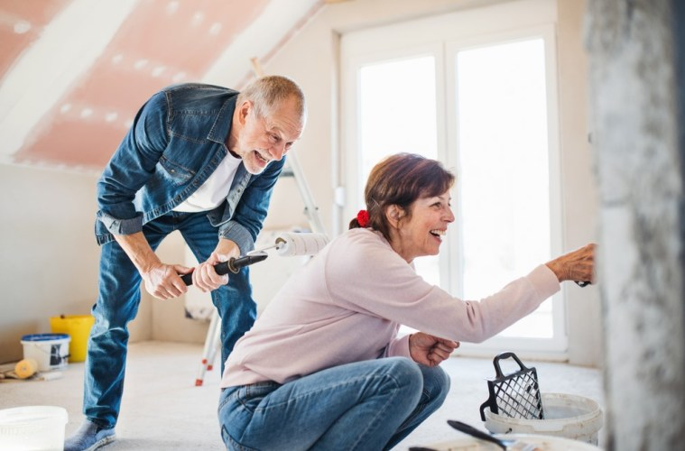 Older couple renovating