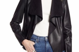 Halogen Faux Leather Drape Front Jacket $149.00