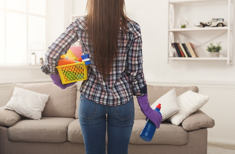 Woman about to do some spring cleaning