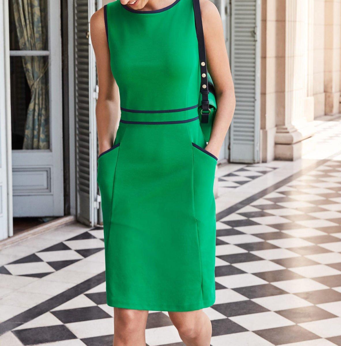 Sabrina Ponte Shift Dress - Rich Emerald
