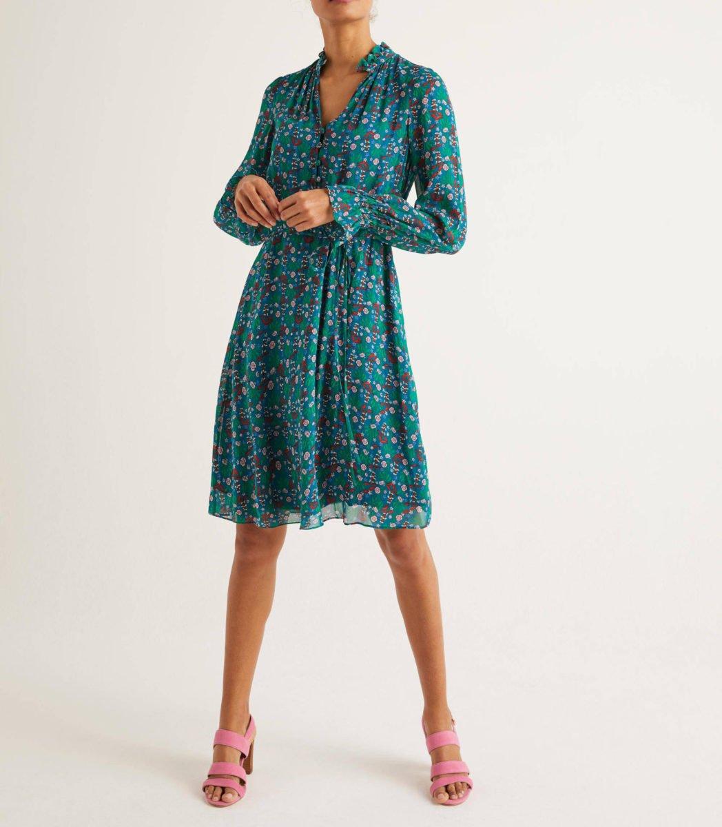 Evangeline Dress - Vibrant Teal, Garden Charm