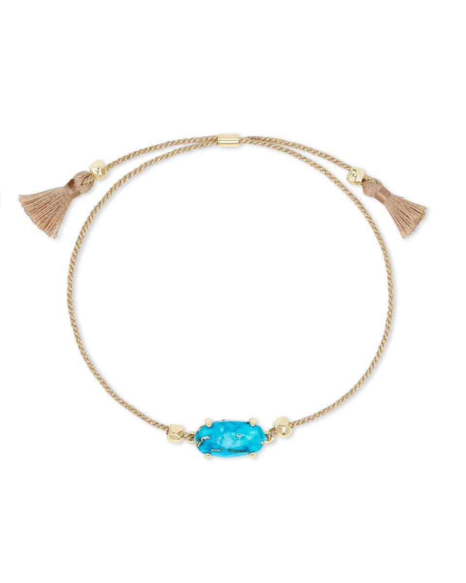 Everlyne Gold Cord Friendship Bracelet In Bronze Veined Turquoise Magnesite