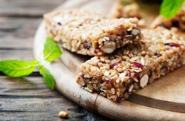 Granola bar on wooden background