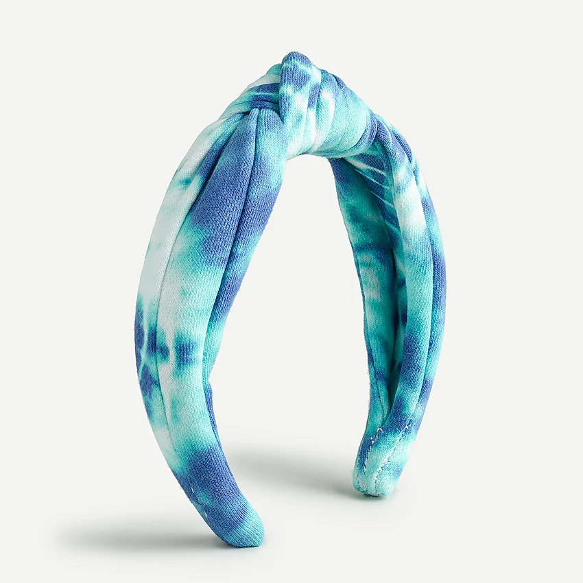Plush jersey turban knot headband in tie-dye