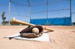 Baseball equipment on home plate