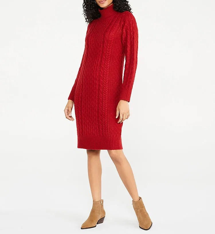 Ann Taylor Turtleneck Cable Sweater Dress $159