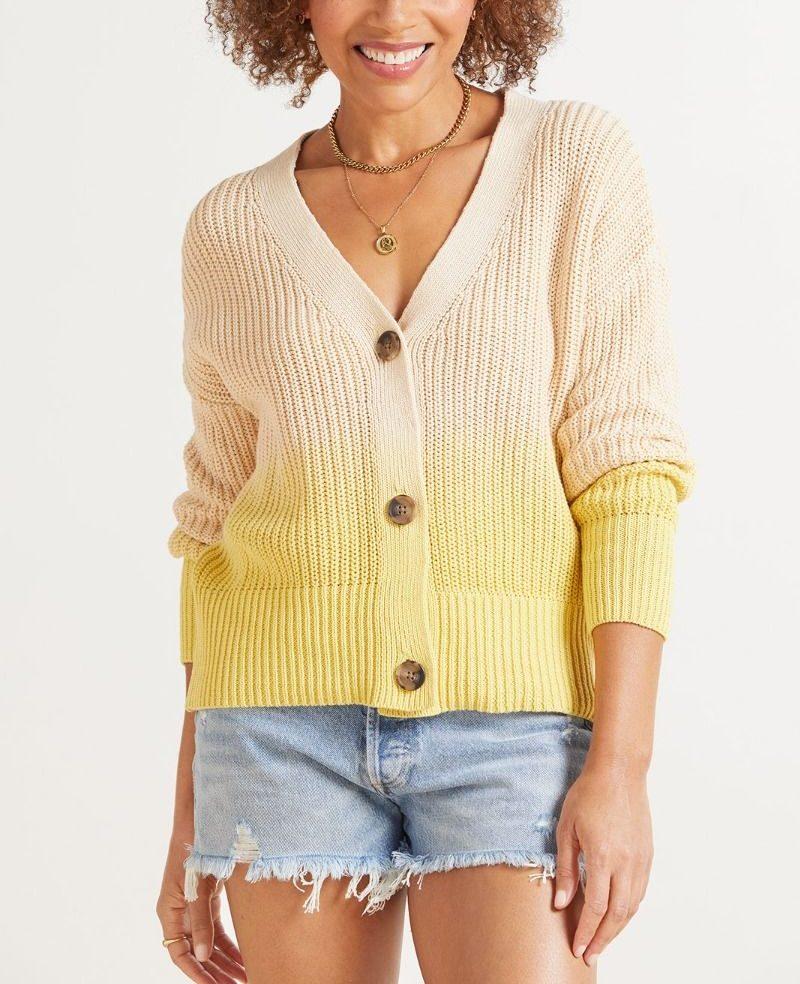Woman wearing yellow sweater