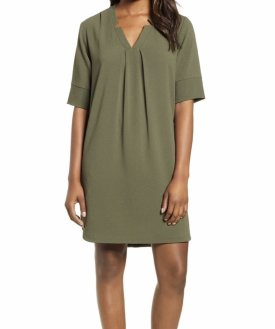 Bobeau Pleat Front Curved Hem Shirtdress $59.00