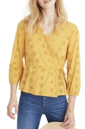 Madewell Scalloped Eyelet Wrap Top