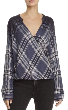 Splendid Hyperion Dip Dye Plaid Top