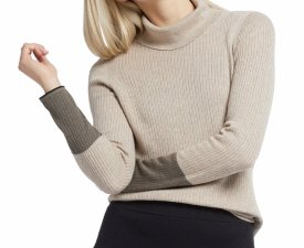 Nic + Zoe Balance Contrast Cuff TurtleNeck Cotton Blend Sweater $128.00