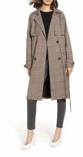 Chelsea28 Plaid Trench Coat $89.40