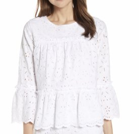 Vineyard Vines Eyelet Tiered Cotton Blouse $128.00