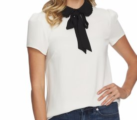 Cece Ruffle Collar Short Sleeve Blouse $79.00
