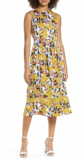 Chelsea28 Floral Print Sleeveless Midi Dress $98.90