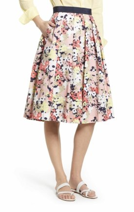 1901 Full Floral Stretch Cotton Skirt