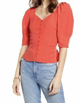 Something Navy Front Button Fitted Top $32.50