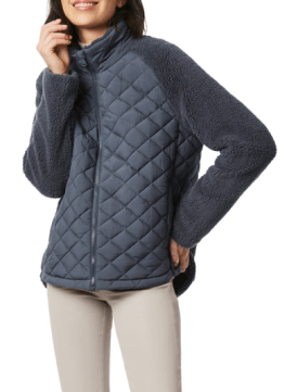 Mixed Media Quilted Faux Fur Jacket $99.90